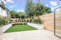 Modern garden design London artificial grass travertine ...