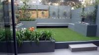 Grey colour scheme agapanthus olives porcelain grey tiles ...