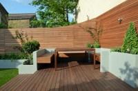 Modern Garden Design Artificial Grass Raised Beds Hardwood ...