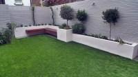 Artificial grass easi grass grey painted fences modern ...