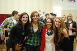Getting ready to go on stage, Devin Gilmore, Katie DeLorey, Kelsey Joyce, and Molly Garitty.