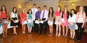 Sophomores receive their academic letter awards for achieving honor roll for six consecutive terms. Left to right are Julia Matson, Alyssa Collins, Kallie Morss, Nicole Cook, Cameron Kelley, Justin Nguyen, Dennis McPeck, Alex Pigeon, Kara Penney, Jenna Novio, Tiffany Vo and Danielle Whitcher.