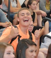 Freshman Adam Royle, gives the first rally two thumbs up.