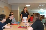 Mentor Sarah Margolis meets with her group of freshmen at the first meeting on September 11.