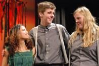 Genesis Rojas (Mowgli), Brian Leonard (Father Wolf) and Kayla Frazer (Mother Wolf)