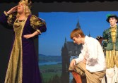 Duchess Frederica (Jackie Carlson) and Orlando (PJ Butler) in a scene from As You LIke It.