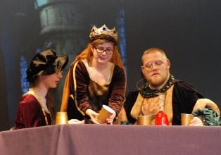 Kaitlin Mott, Olivia Olsen and John Mott in the banquet scene from Macbeth