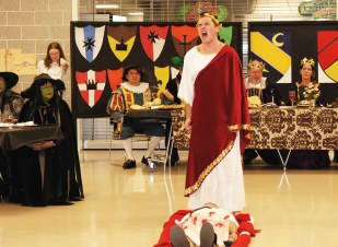 Chris Catania as Mark Antony laments the death of Julius Caesar.