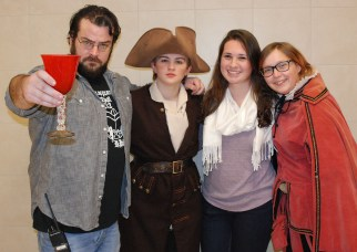 The cast of Othello from left to right: Mr. Neal, faculty director, Leah Dececco, Alyssa Collins, student director and Jace Williams