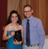 Freshman Genesis Rojas received an academic achievement award in music from Music Department Director Matt Harden.