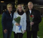 Brianna Starkey was escorted by her parents Donna and Robert
