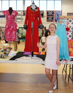 Kaitlyn Mott and some of her designs.