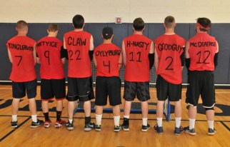 Back view of God's Children, the winners of the Speedball Tournament.