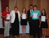 Receiving recognition for achieving High Honors for Three Terms this year were Ryan Sugrue, Noelle Atkins, Sean Sugrue and Luana Lima. Ms. Paulding and Dr. Cron presented the certificates.