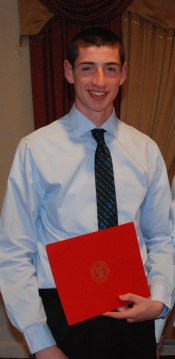 Matt Kirslis received the Rensselaer Medal which is a recognition by the high school's faculty of an outstanding student in math and science. I