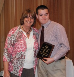 Steven Shorrock is the grade 11 academic achiever in Family Consumer Science, presented by Family Consumer Science Chair, Brenda Folsom.