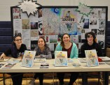 Left to right: Lauren Zaremba, Ryan Hooper, Luana Lima and Jillian Schofield at the Arts Festival on Tues. April 14. Veritas Photo
