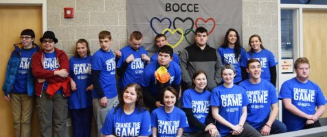 Rockland's Pathways Bocce crew: From left back: Keith Wiley, Jacob Wright, Emily Hunt-Grandmount, Nick Cara, Justin Pendleton, Alex Anzivino and Duke Ledwell. SGC student volunteers: Back: Hannah Murphy and Jill Donahue. Front: Shannon Lindahl, Jurnee Dunn, Morgan Foster, Madison Parlee and Adam Royle. Pathways student Josh Keating is next to Adam. photo by Maddie Gear