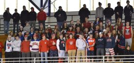 The student body was in red, white and blue on Saturday, March 4 as the Bulldogs took on Hanover at Gallo. photo by Kelley Reale