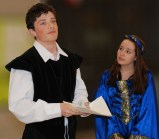 Ronan McNally and Sophie McLellan rehearse a scene from Hamlet at Thursday night's dress rehearsal for the Rockland High School Shakespeare Festival. VERITAS photo
