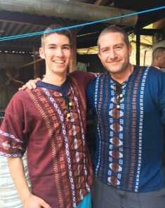 Gregory Connors and Matt Rocha model their Mayan fashions.