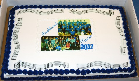 The Music Boosters rewarded band and chorus students with a personalized cake.