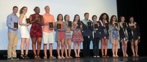Seniors received plaques in recognition of their participation in band and choral ensembles Left to Right: Michael Belmonte, Lauren Zaremba, Kimberlie Jean-Poix, Jeffre Donahue, Vivian Nguyen, Luana Lima, Sophie McLellan, Sean Vo, Shandi Austin, Tatianna Hill, Taylor Vernava, Jurnee Dunn, Morgan Foster.