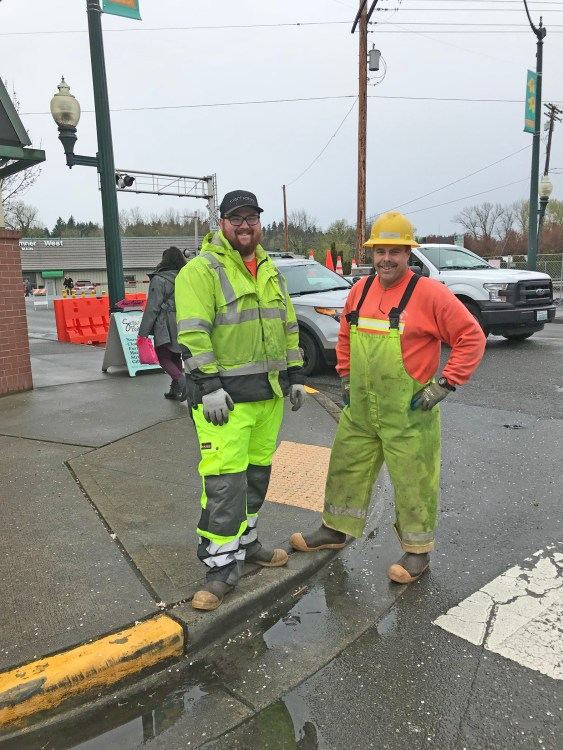 Public Works--the unsung heros of the parade--who not only put out barricades and signs but sweep the streets, repaint bright daffodils and spend days making the city look great for the parade.