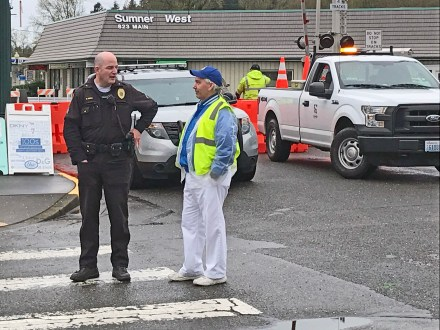 Sumner Police get support from the SeaFair Parade volunteers to direct floats, bands, traffic and everything else.