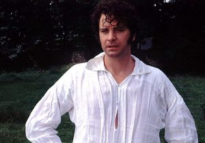 Mr Darcy/Colin Firth in a wet shirt, having just emerged from a lake.