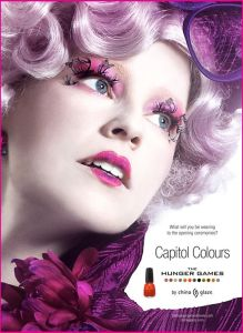 Effie Trinket, advertising 'Capitol Colours Nail Polish'