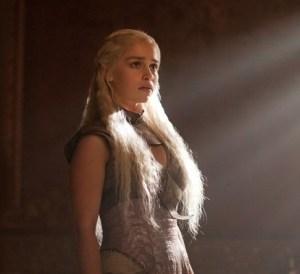 Daenerys Targaryen in the TV series version of the Qartheen gown