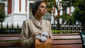 An image of Rosa Parks sitting on a bench, from Doctor Who.