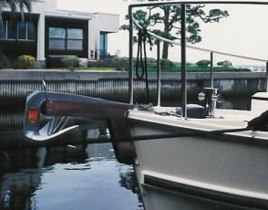 Custom stainless steel Sampson post mounte on bow