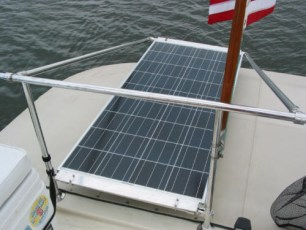 Solar panels installed over canvas cockpit cover