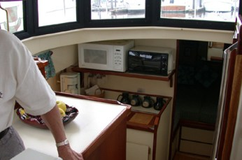 Custom shelf in galley