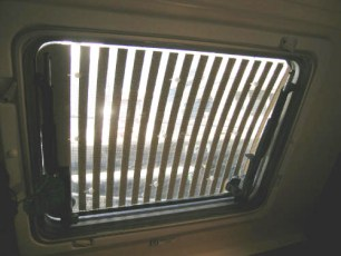 Hunter-Douglas honey combed shades on aft cabin hatches