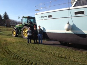 PDQ 41 hauled with custom built trailor and John Deere tractor