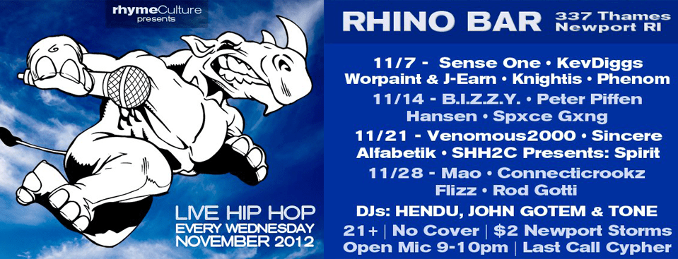 rhymeCulture returns to the Rhino Bar every Wednesday!