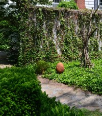 A small garden features several outdoor walls which make it appear bigger.