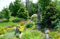Garden design seen in a view of Keppel Croft gardens incorporating native rock.