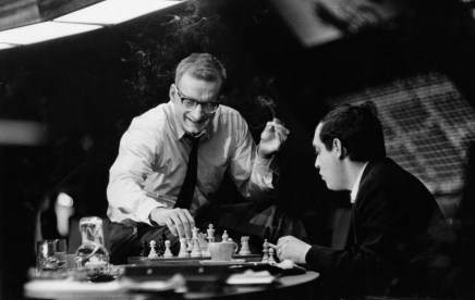 Stanley Kubrick (right) plays chess with George C. Scott on the set of Dr Strangelove: Or, How I Learned To Stop Worrying and Love the Bomb (1964)