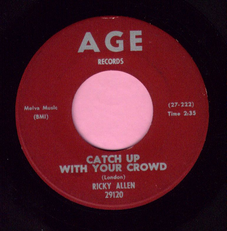 "Ricky Allen "" Catch Up With Your Crowd "" Age Records Vg+"