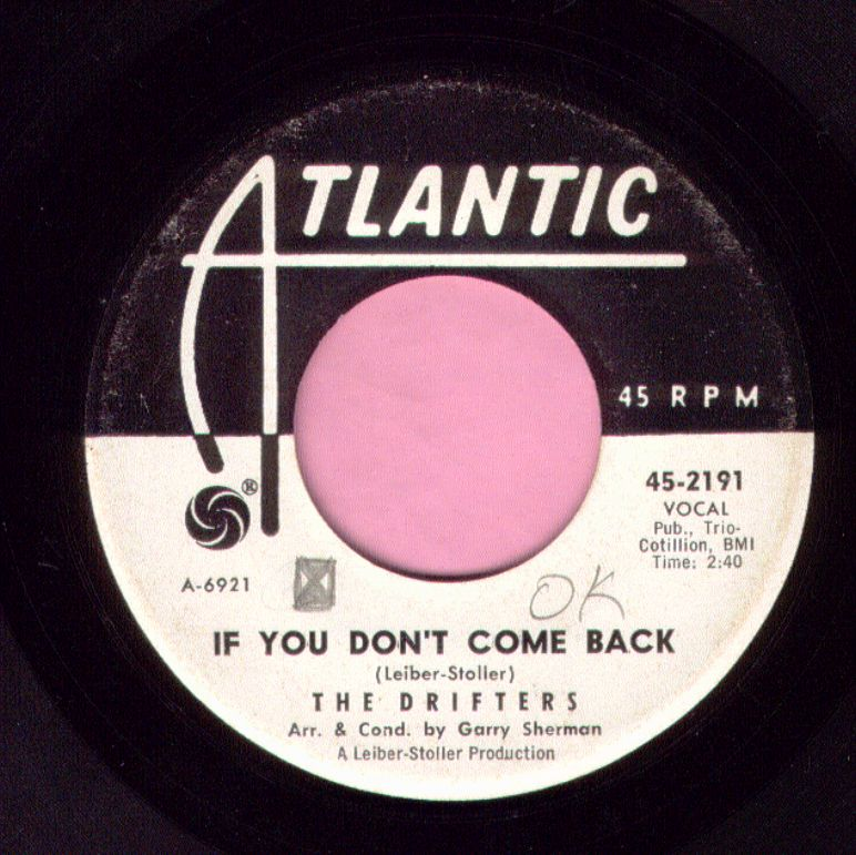 "The Drifters "" If You Don't Come Back "" Atlantic Demo Vg"