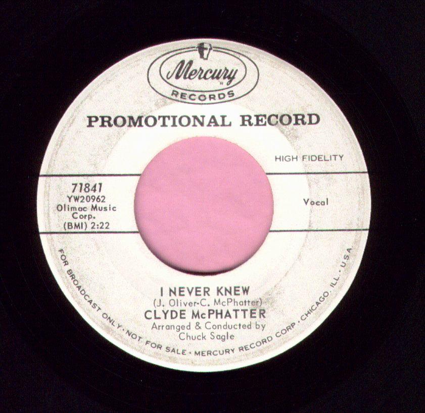 "Clyde McPhatter "" I Never Knew "" Mercury Demo Vg"