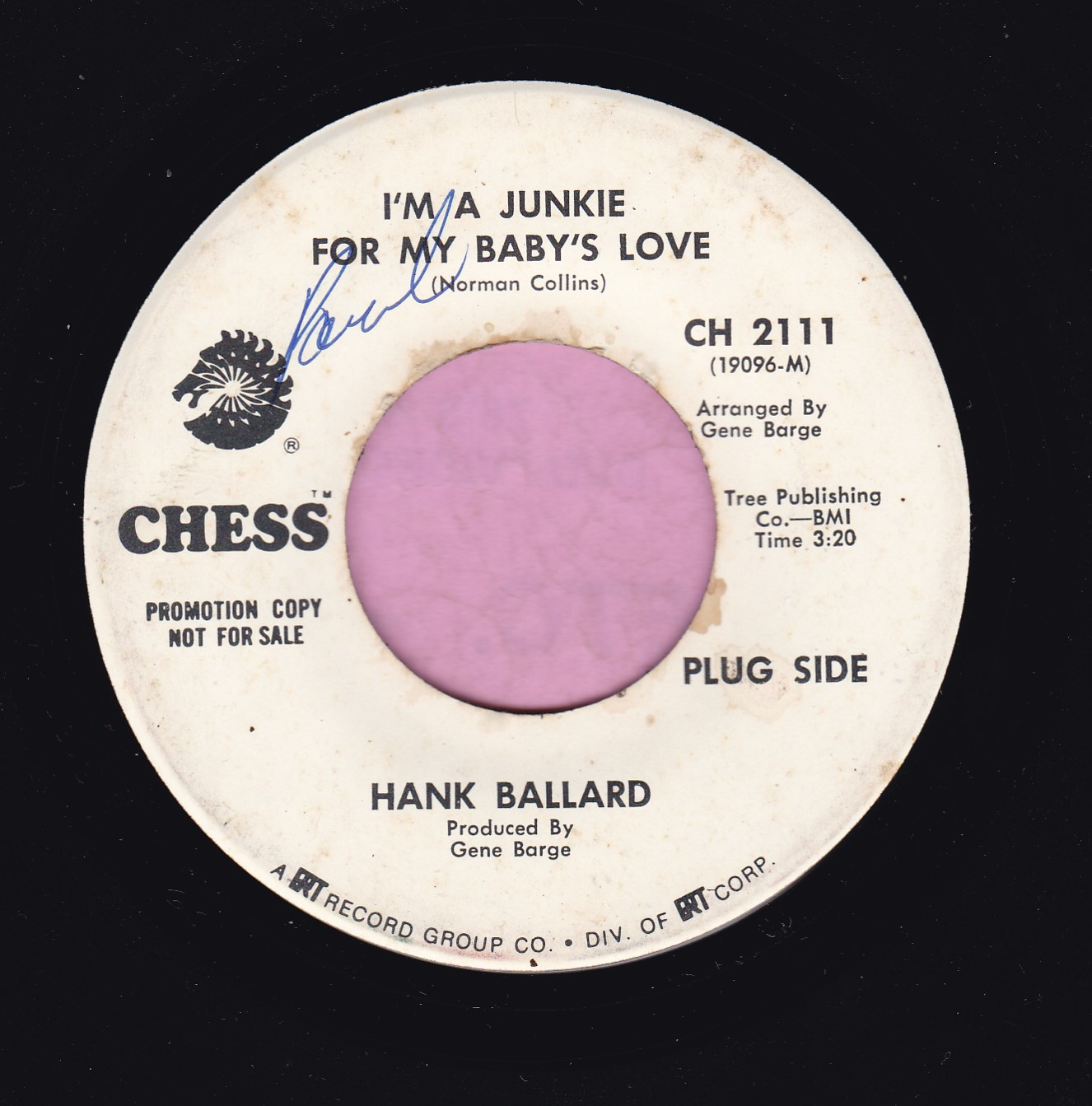 "Hank Ballard "" I'm A Junkie For My Baby's Love "" Chess Demo Vg"