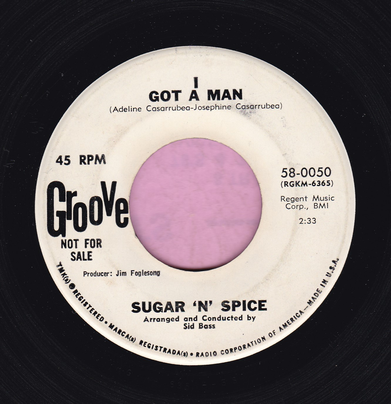 "Sugar ""N"" Spice "" I Got A Man "" Groove Demo Vg+"