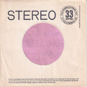 Columbia Stereo Seven White Text On Both Sides U.S.A. Company Sleeve