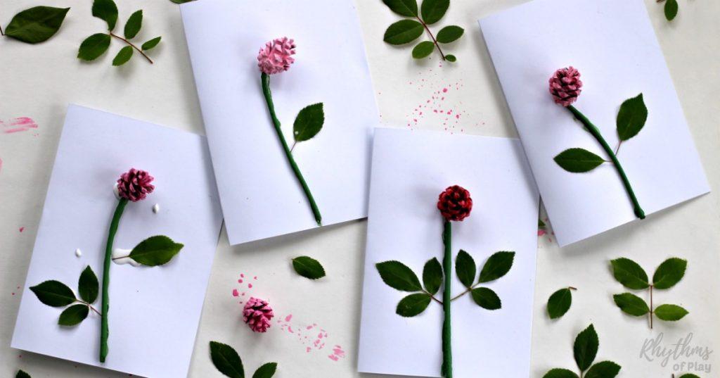 DIY Pinecone Rose 3 D Mothers Day Card Kids Make