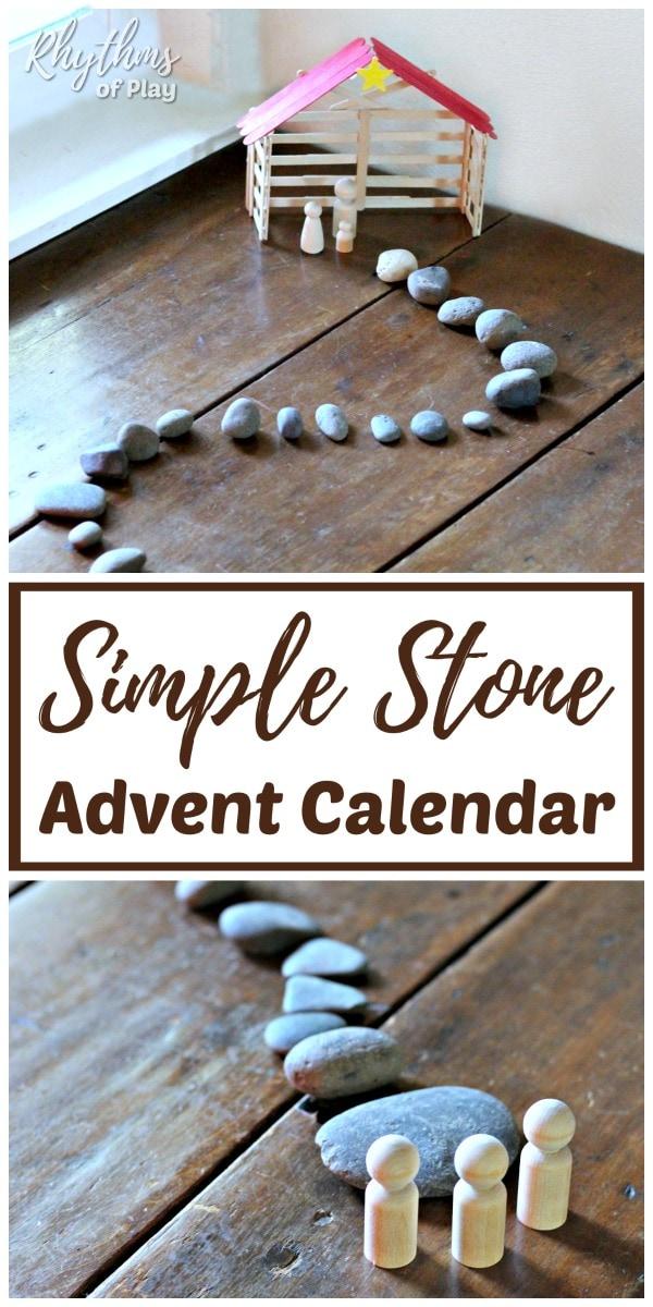 DIY advent calendar Christmas countdown uses stones or rocks to countdown to Christmas,